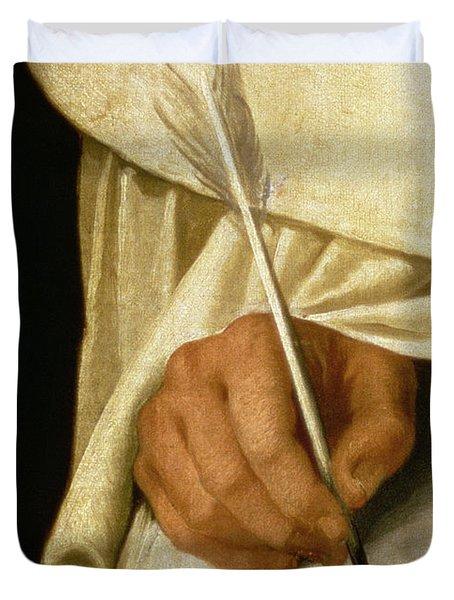 Detail Of Brother Pedro Machado Writing Duvet Cover