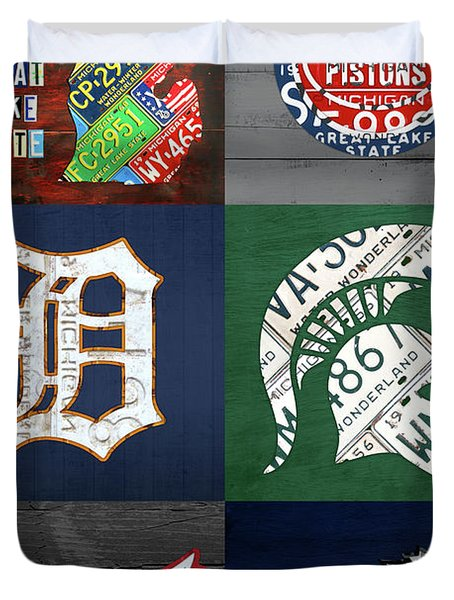Detroit Michigan Sports And Map License Plate Art Collage Vertical Duvet Cover