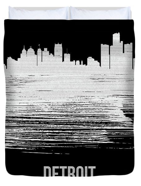 Detroit Skyline Brush Stroke White Duvet Cover