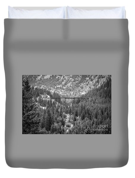 Duvet Cover featuring the photograph Devils Gate In Black And White by Jon Burch Photography