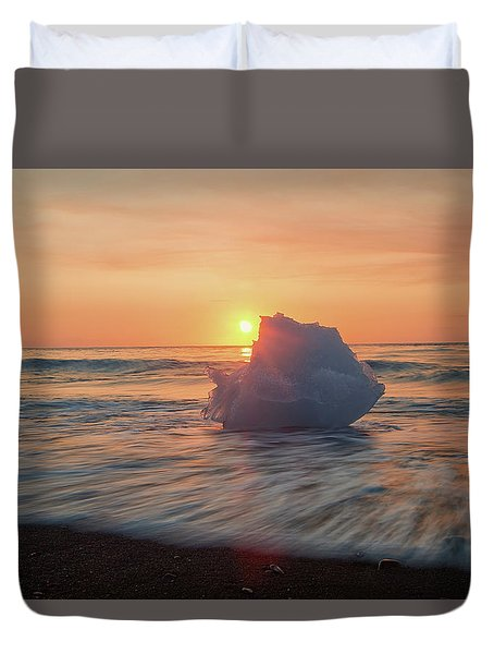 Duvet Cover featuring the photograph Diamond Beach Sunrise Iceland by Nathan Bush