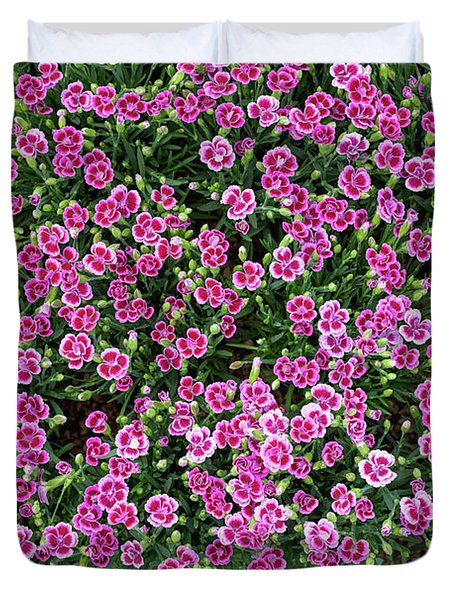 Dianthus Pink Kisses Pattern Duvet Cover