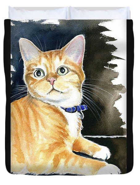 Diego Ginger Tabby Cat Painting Duvet Cover