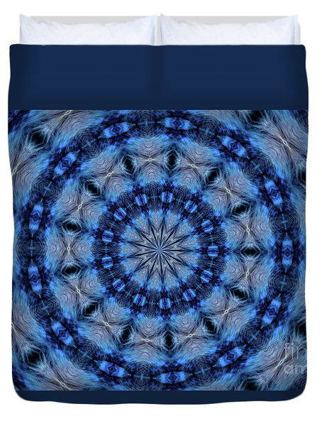 Duvet Cover featuring the photograph Blue Jay Mandala by Debbie Stahre