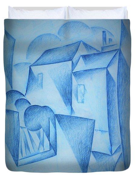 Digital Remastered Edition - Houses In Paris, Place Ravignan - Original Blue Duvet Cover