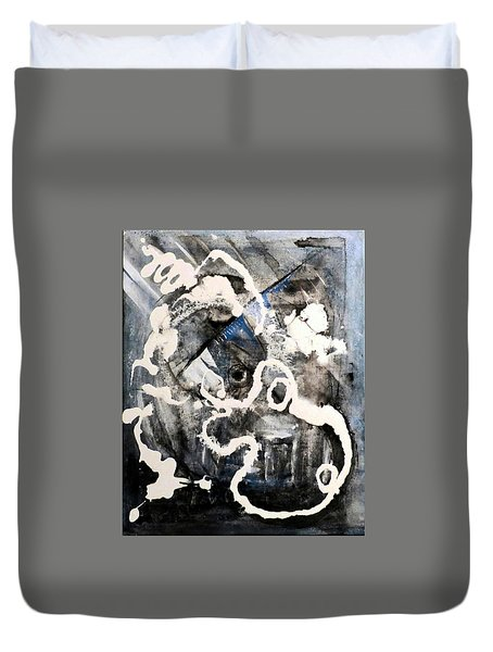 Duvet Cover featuring the painting Dismantling by 'REA' Gallery