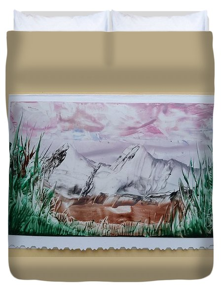 Distant Impressionistic Mountains Duvet Cover