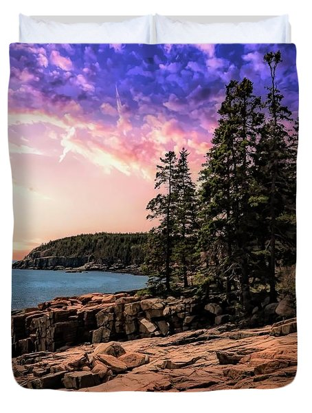 Distant View Of Otter Cliffs,acadia National Park,maine. Duvet Cover
