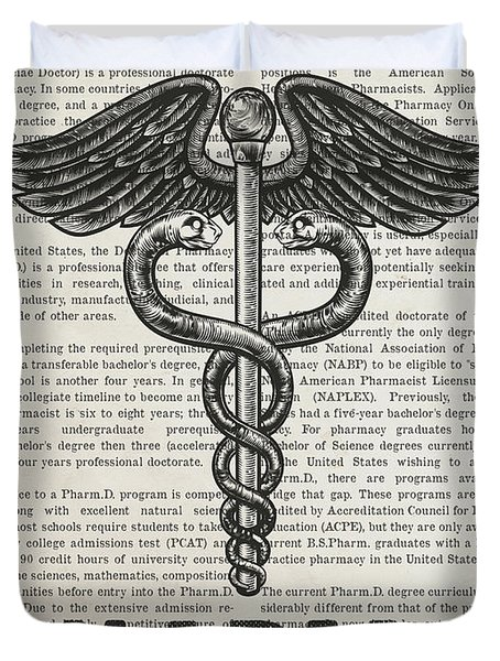 Doctor Of Pharmacy Gift Idea With Caduceus Illustration 01 Duvet Cover