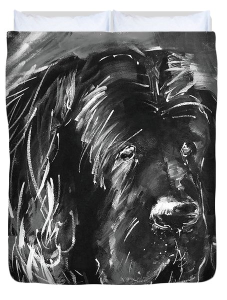 Dog Black And White  Duvet Cover