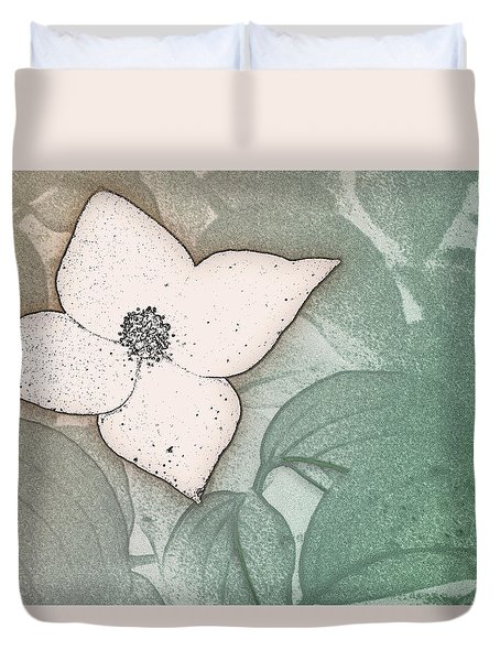 Dogwood Flower Stencil On Sandstone Duvet Cover