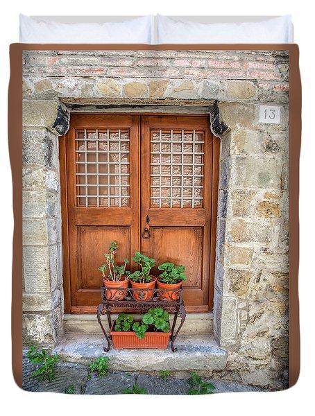 Door Thirteen Of Tuscany Duvet Cover