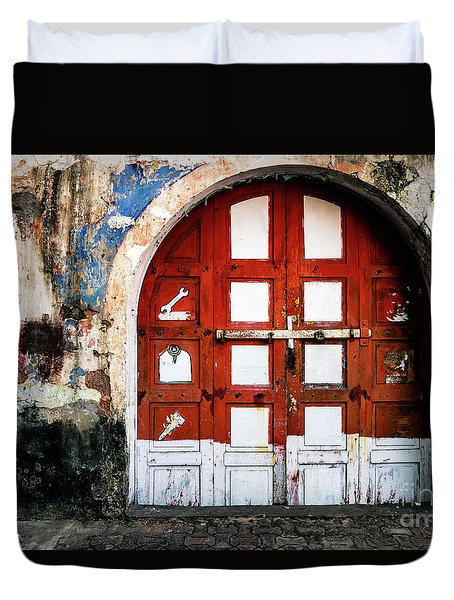 Doors Of India - Garage Door Duvet Cover