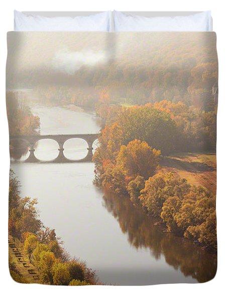 Dordogne River In The Mist Duvet Cover