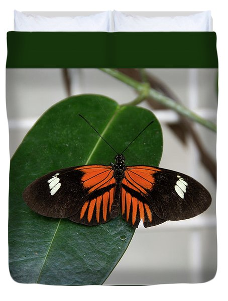 Doris Longwing On Leaf Duvet Cover