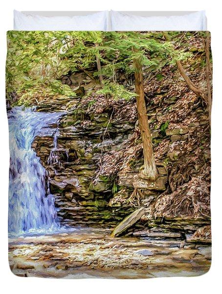 Double Cascade Waterfalls Duvet Cover