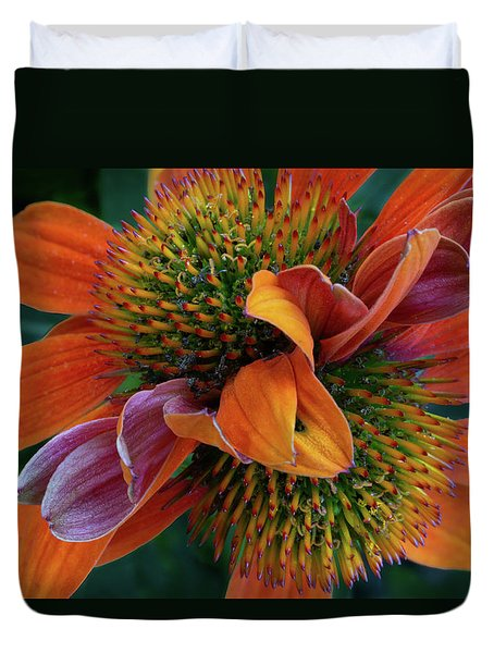 Duvet Cover featuring the photograph Double Coneflower by Dale Kincaid