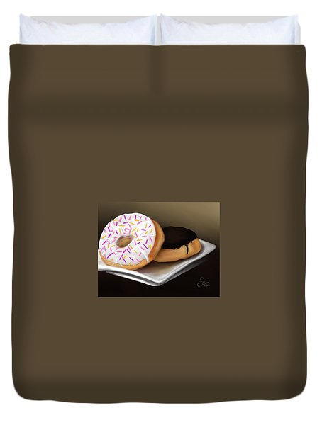 Duvet Cover featuring the painting Doughnut Life by Fe Jones