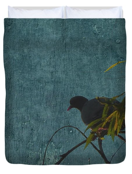 Duvet Cover featuring the photograph Dove In Blue by Attila Meszlenyi