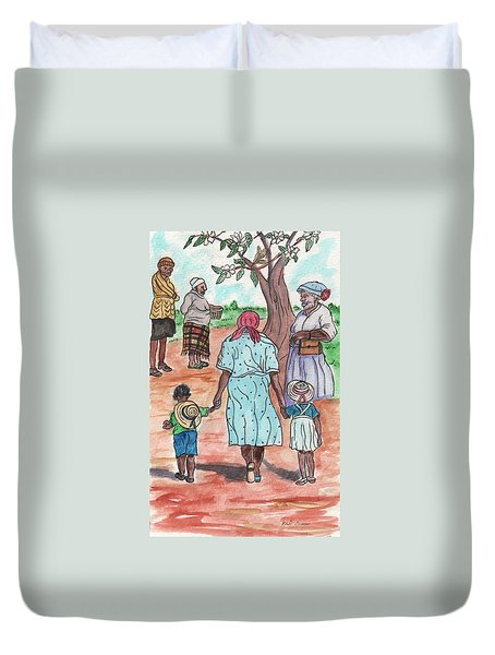 Down The Red Road And Past The Magnolia Tree Duvet Cover