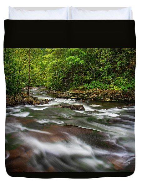 Duvet Cover featuring the photograph Down The Tellico River by Andy Crawford