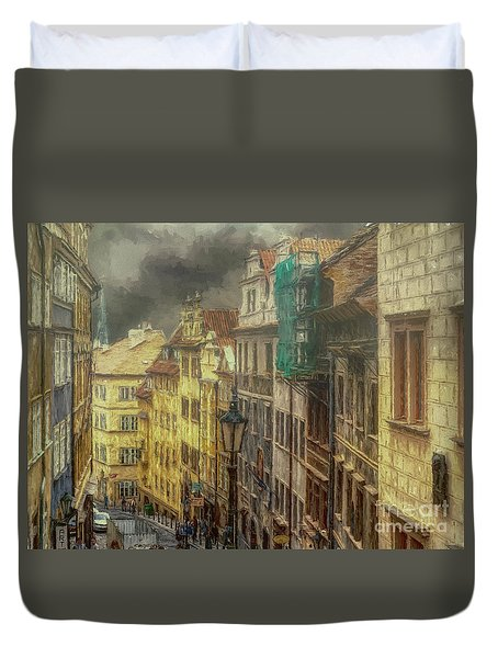 Downhill, Downtown, Prague Duvet Cover