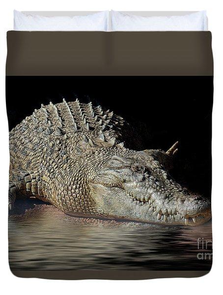 Duvet Cover featuring the photograph Dozy Crocodile by Elaine Teague