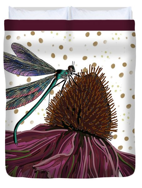Dragon Fly And Echinacea Flower Duvet Cover