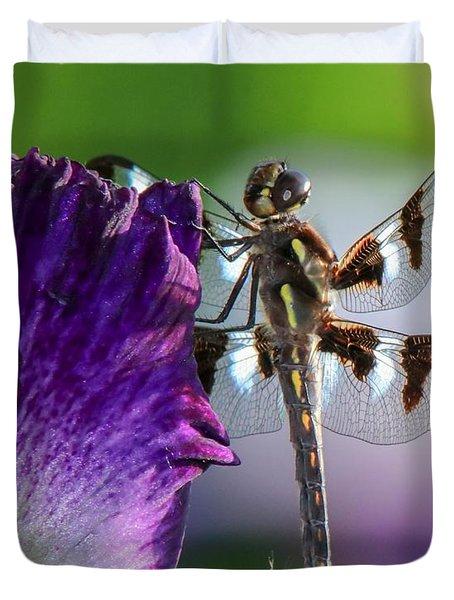 Dragonfly On Iris Duvet Cover