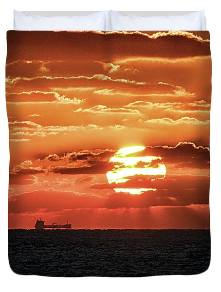 Duvet Cover featuring the photograph Dramatic Atlantic Sunrise With Ghost Freighter by Bill Swartwout Fine Art Photography