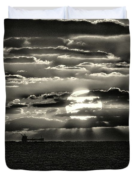 Duvet Cover featuring the photograph Dramatic Atlantic Sunrise With Ghost Freighter In Monochrome by Bill Swartwout Fine Art Photography