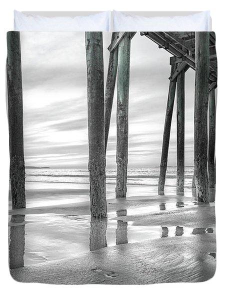 Dramatic Pier Sunrise In Black And White Duvet Cover