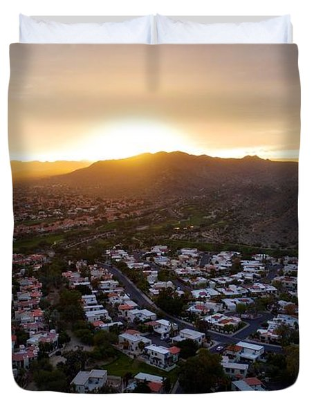Dramatic South Mountain Sunset Duvet Cover