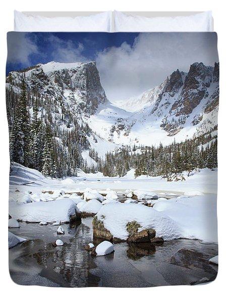 Dream Lake Winter Reflections  Duvet Cover