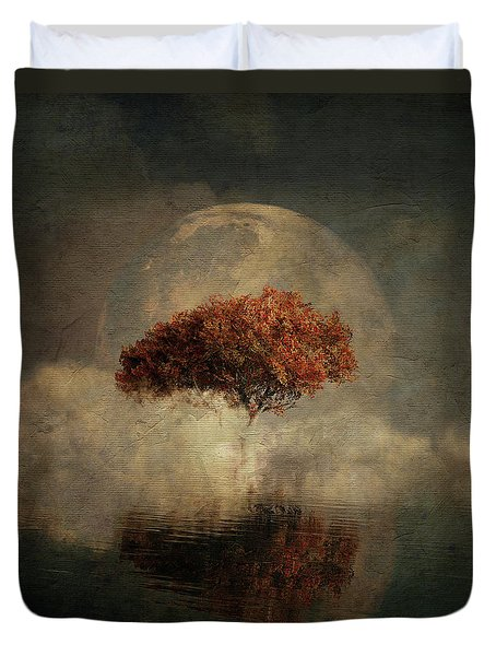 Duvet Cover featuring the digital art Dream Landscape With Full Moon by Jan Keteleer