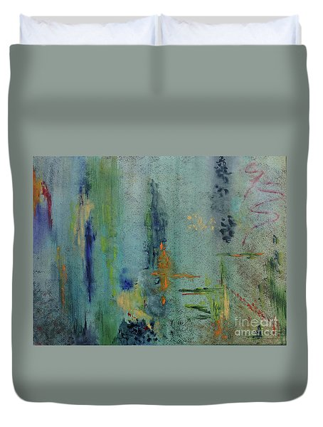 Duvet Cover featuring the painting Dreaming #3 by Karen Fleschler