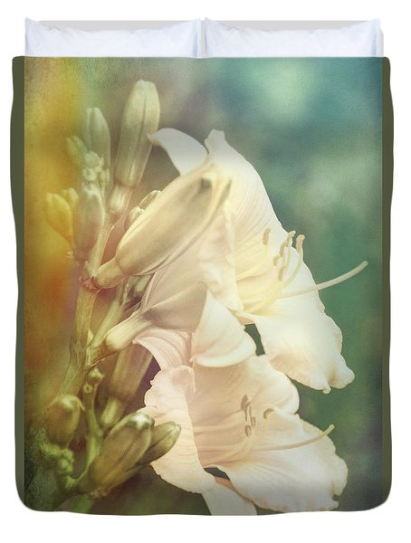 Duvet Cover featuring the photograph Dreamy Lilies by Leda Robertson