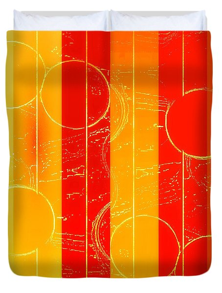 Duvet Cover featuring the mixed media Drop It Like It's Orange by Rachel Hannah