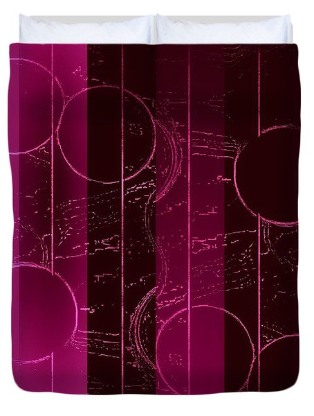 Duvet Cover featuring the mixed media Drop It Like It's Pink by Rachel Hannah