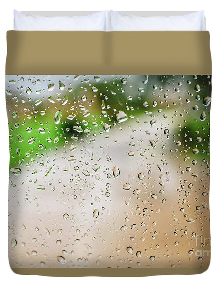 Drops Of Rain On An Autumn Day On A Glass. Duvet Cover