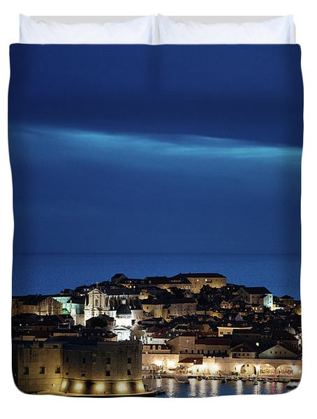 Dubrovnik Old Town At Night Duvet Cover
