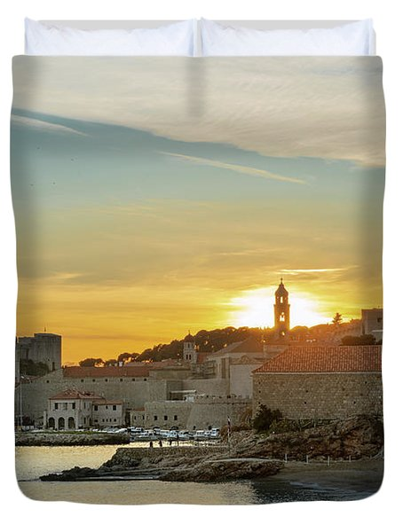 Dubrovnik Old Town At Sunset Duvet Cover