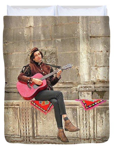 Dubrovnik Street Musician Duvet Cover