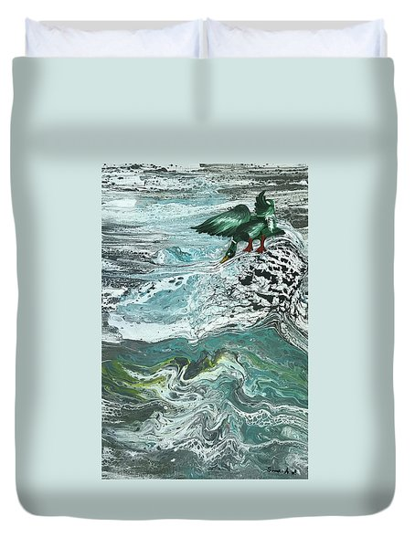 Duck At The River Duvet Cover