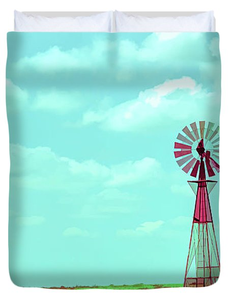 Dueling Tones Windmill Duvet Cover