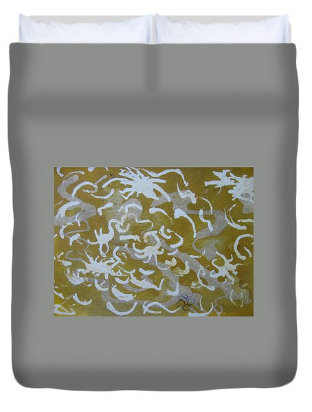 Dull Yellow With Masking Fluid Duvet Cover