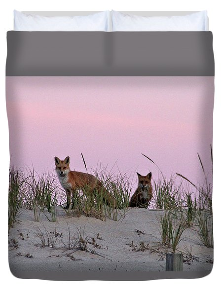 Duvet Cover featuring the photograph Dune Foxes by Robert Banach
