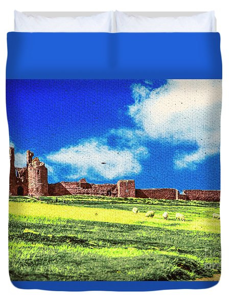 Dunstanburgh Castle In Oil Duvet Cover