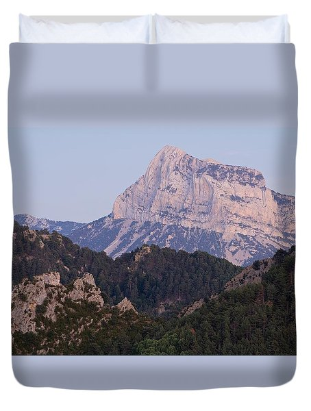 Duvet Cover featuring the photograph Dusk At Pena Montanesa by Stephen Taylor