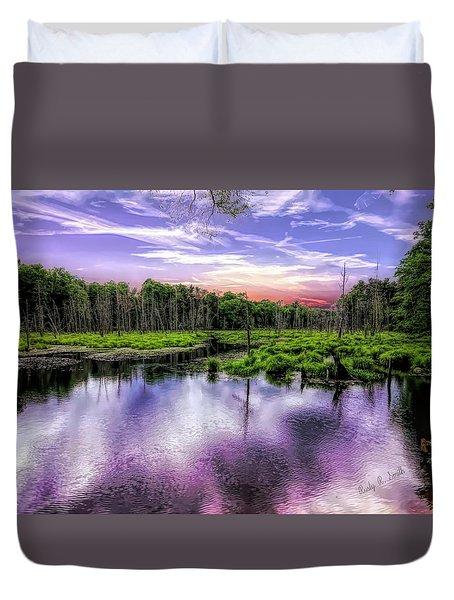 Dusk Falls Over New England Beaver Pond. Duvet Cover